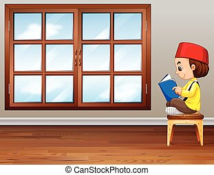 jongen, moslim, het boek van de lezing