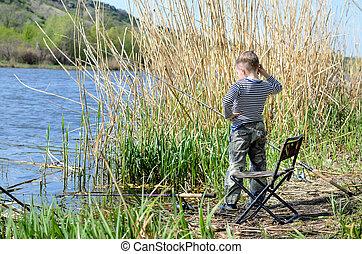 jongen, oever, visserij, meer, jonge