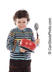 jongen, ondeugende , pan, lawaai, vervaardiging