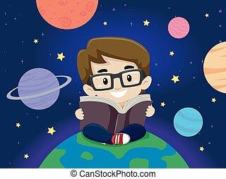 jongen, ongeveer, zittende , planeet, terwijl, boek, lezende , geitje