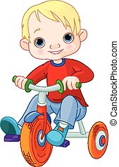 jongen, op, driewieler