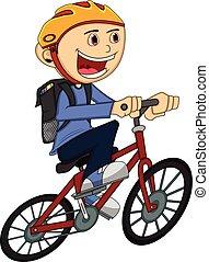 jongen, op een fiets, spotprent