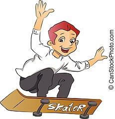 jongen, op, een, skateboard, illustratie
