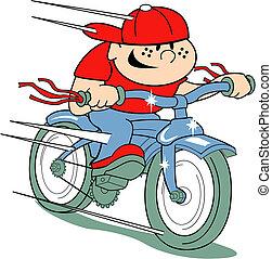 jongen, op, fiets, knip kunst, in, retro stijl