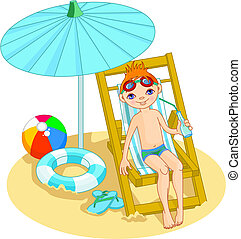 jongen, op het strand