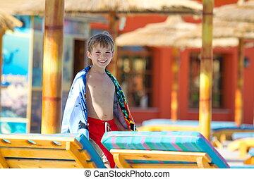 jongen, op, vakantiepark