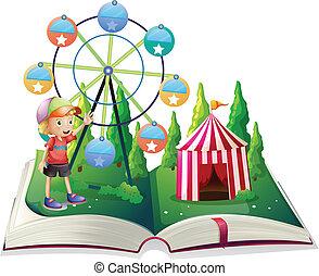 jongen, open, jonge, carnaval, storybook