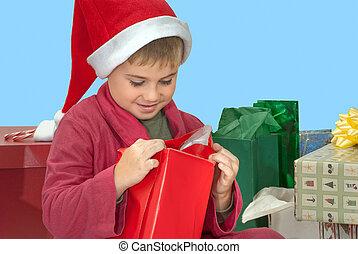 jongen, opening, kerstkado