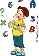 jongen, oplossend probleem, wiskunde, illustratie