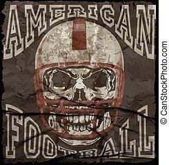 jongen, ouderwetse , voetbal, gewoonte, amerikaan, vector, afdrukken, sportkleding