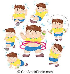 jongen, overgewicht, illustratie, verzameling, fitness