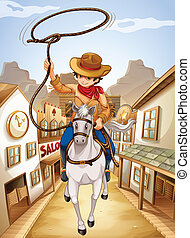 jongen, paarde, jonge, paardrijden, dorp