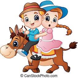jongen, paarde, meisje, spotprent, paardrijden