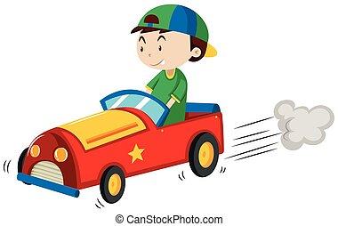 jongen, paardrijden, rode auto