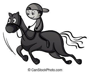 jongen, paardrijden