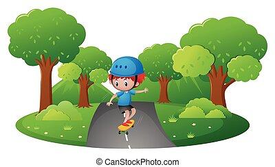 jongen, park, skateboarding