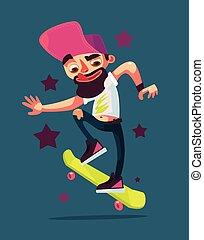jongen, plat, karakter, illustratie, vector, skater, skateboard., paardrijden, spotprent
