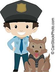 jongen, politiehond, politieagent
