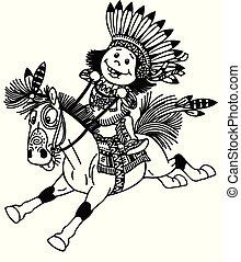 jongen, pony, indiër, paardrijden, spotprent, inlander