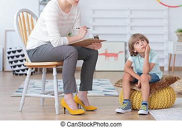 jongen, psychotherapy, consultatie, autisme, gedurende