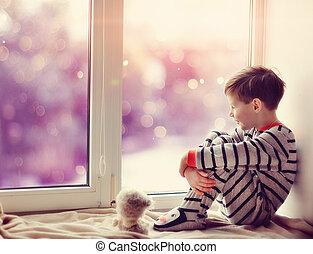 jongen, raam winter