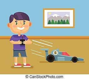 jongen, rc, spelend, auto