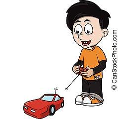 jongen, rc, spotprent, auto, spelend