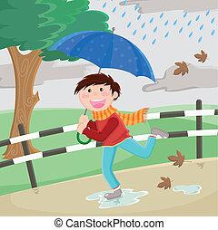 jongen, regen