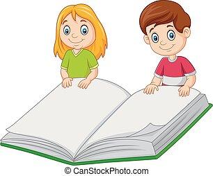 jongen, reus, boek, vasthouden, meisje, spotprent