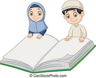 jongen, reus, moslim, boek, vasthouden, meisje, spotprent