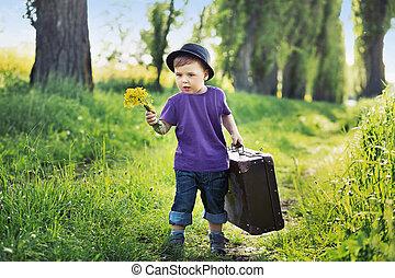 jongen, reusachtig, jonge, koffer