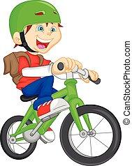 jongen, rijdende fiets, schattig