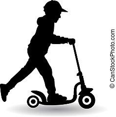jongen, ritten, scooter