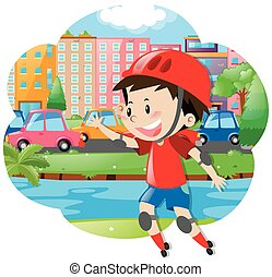 jongen, rollerskates, stad