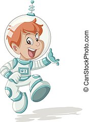 jongen, ruimtevaarder, spotprent