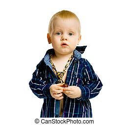 jongen, ruitjes, tie., hemd, vrijstaand, baby