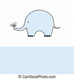 jongen, schattig, douche, elefant, baby, kaart