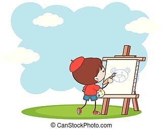 jongen, schilderij, beer