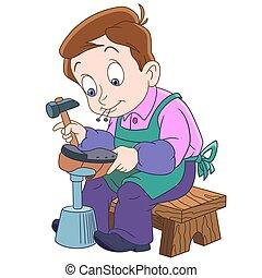 jongen, schoenmaker, spotprent