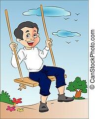 jongen, schommel, illustratie