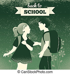 jongen, school, achtergrond., scholieren, ouderwetse , back...