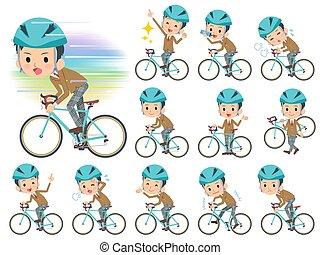 jongen, school, fiets, bruine , rijden, blazer