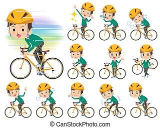 jongen, school, fiets, rijden, groene, blazer