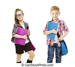 jongen, school geitjes, groep, kinderen, weinig; niet zo(veel), uniform, student, witte , map, meisje