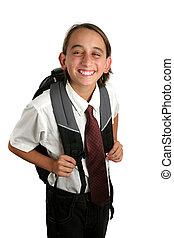jongen, school, grijns