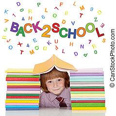 jongen, school, hemd, kavels, boekjes , kleine, vastknopen