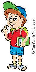 jongen, school, het adviseren
