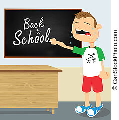 jongen, school, het schreeuwen