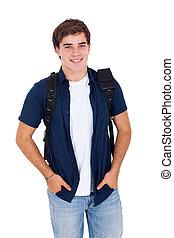 jongen, school, hoog, het poseren, achtergrond, witte