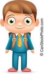 jongen, school, illustrator, karakter, vrijstaand, realistisch, vector, ontwerp, kind, 3d, opleiding, spotprent, pictogram